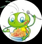 Sara eet spaghetti